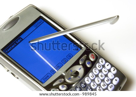Cellphone/PDA showing a suspended stylus over a blank contact screen. - stock photo