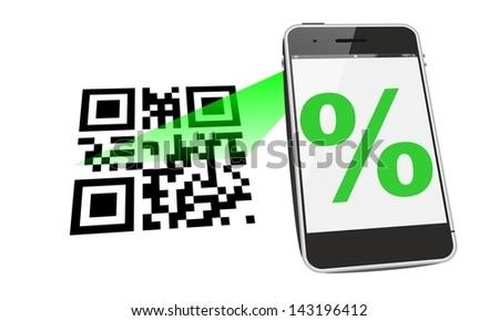 cellphone QR code discount - stock photo