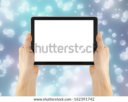cellphone tablet ipade in hand for advertisement. computer - stock photo