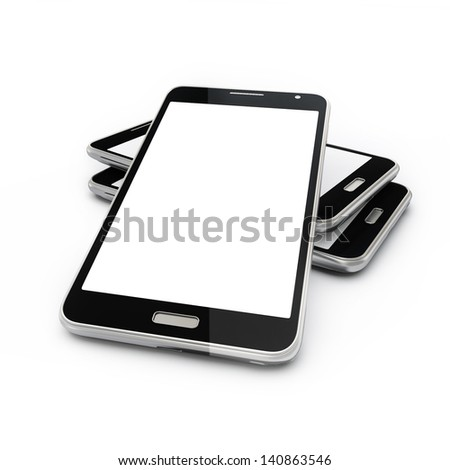 Cellphones With Blank Touch Screen Isolated on White, Illustration  - stock photo