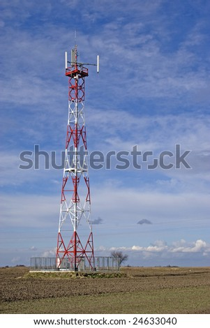 cellular communication antena  and cloudy sky background
