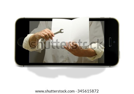 Cellular smart phone with arms coming out of the screen that are holding a wrench and blank booklet representing tech support, education and training.