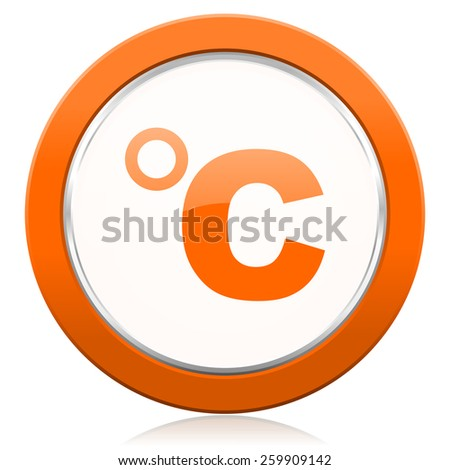 celsius orange icon temperature unit sign  - stock photo