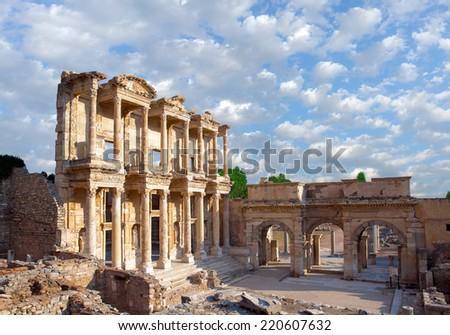 Celsus Library in Ephesus, Turkey  - stock photo
