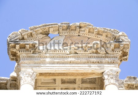 Celsus Library in Ephesus, Turkey-  close up - stock photo