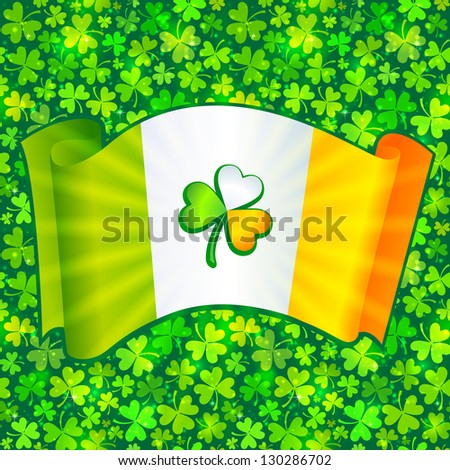 Celtic clover on Irish flag at green clovers background. Raster illustration. Vector version also exist. - stock photo