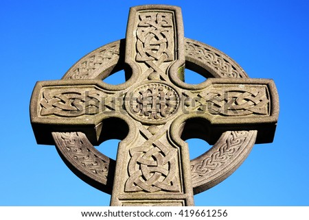 Celtic cross found in an old graveyard - stock photo