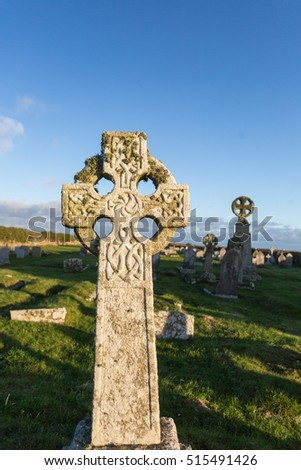 Celtic cross in cornwall england uk.