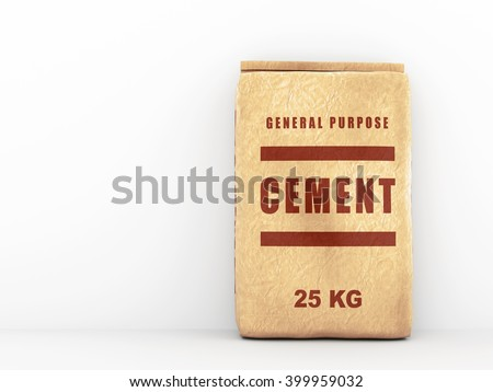 Cement bag: paper sack over white wall. 3D illustration - stock photo