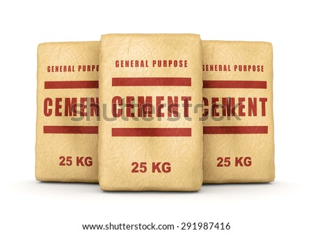 Cement bags. Group of paper sacks isolated on white background. - stock photo