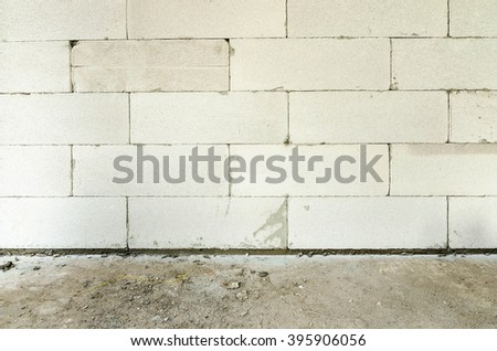 Cement block wall under construction