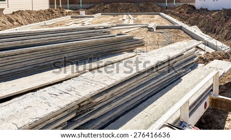 Cement foundation wood forms on a trailer - stock photo