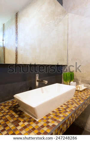 cement interior style in restroom, basin countertop. - stock photo
