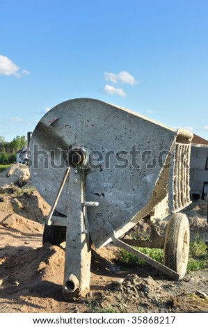 Cement Mixer at Construction Site, Vertical, Copy Space