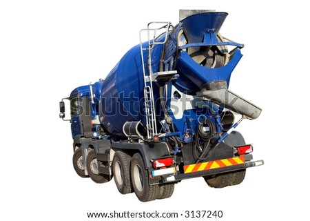 Cement Mixer Truck isolated on white - stock photo