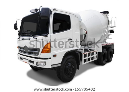 Cement mixer truck isolated on white background - stock photo