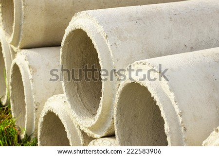 Cement pipe sewer - stock photo
