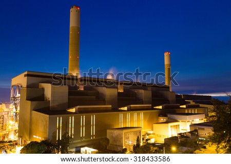 Cement Plant and power sation during sunset - stock photo
