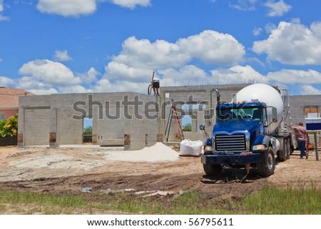 Cement Pour New Construction - stock photo
