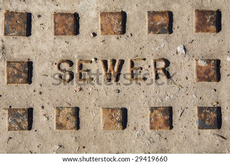 Cement Sewer Cover background texture - stock photo