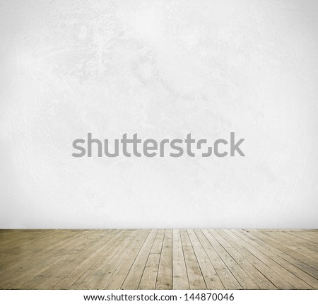 cement wall and wood floor - stock photo