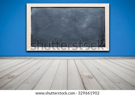 Cement Wall Painted Blue Color and Wood Floor Texture Background with Blackboard , room interior design