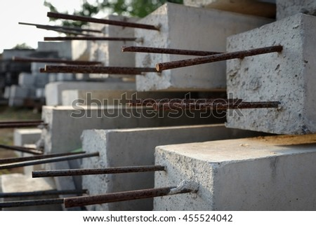 Cement with steel poles for construction