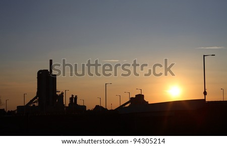 Cement Works Rugby England at sunset - stock photo