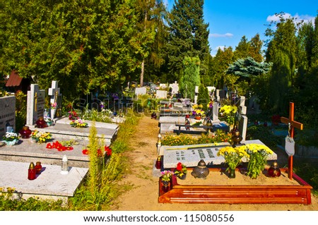 Cemetery alley background - All Saints' Day in Wroclaw, Poland - stock photo