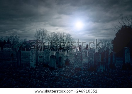 Cemetery at midnight - stock photo