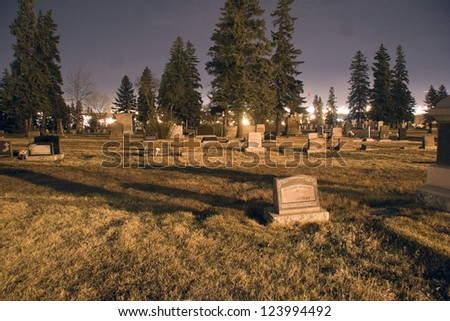 Cemetery At Night - stock photo