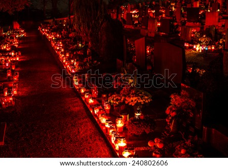 Cemetery candles on the first of november, Slovenia - stock photo
