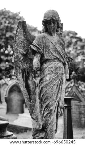 Completely new Cemetery Graveyard Stone Angel Statue Black Stock Photo (Safe to  OA83