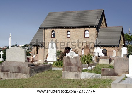 Cemetery House With Graves and Gravestones During Daylight In Sydney Australia - stock photo