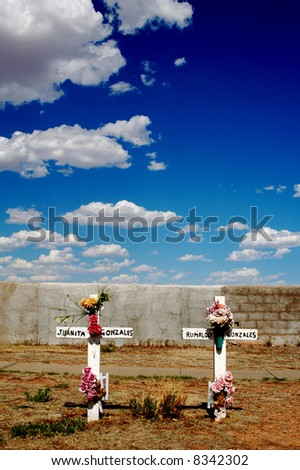 Cemetery in Fort Sumner New Mexico - stock photo