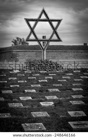 Cemetery in front of the concentration campin in Terezin, Czech Republic.  - stock photo