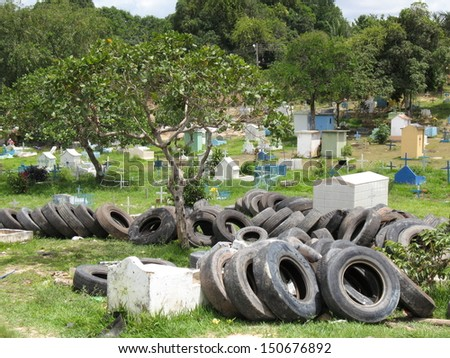 Cemetery in Manaus is used as a garbage dump, Amazonia Brazil  - stock photo