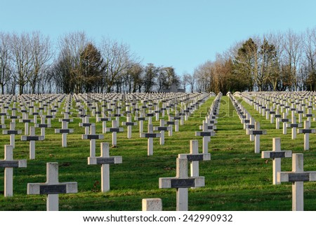 cemetery of French soldiers from World War 1 in Targette - stock photo