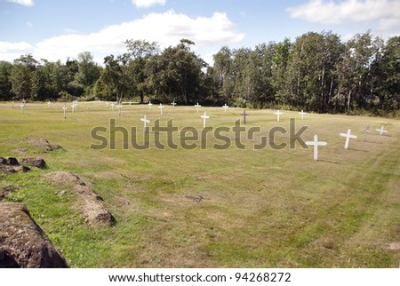 Cemetery of Grosse Isle & the Irish Memorial Historic Site, the island was the site of an immigration depot which predominantly housed Irish immigrants come to Canada to escape the Great Famine - stock photo