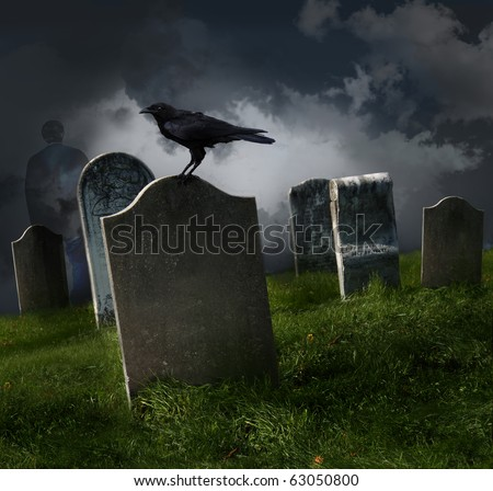 Cemetery with old gravestones and black raven - stock photo