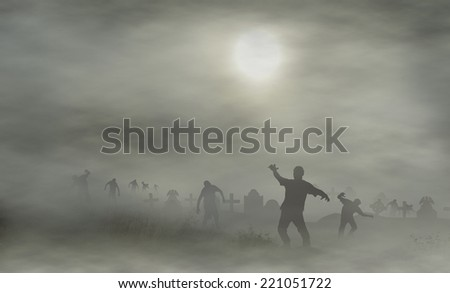 cemetery with zombies - stock photo