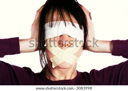 Censor and freedom of speech concept. Media prisoner and human rights concept. Tied mouth and blindfolded eyes. - stock photo