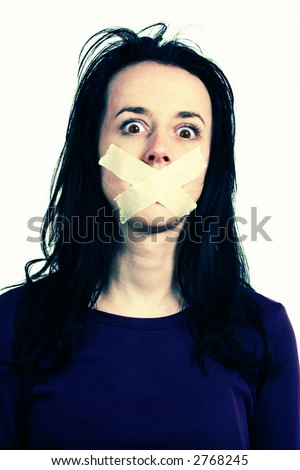 Censor and freedom of speech concept. Woman mouth tied.Manipulated colors