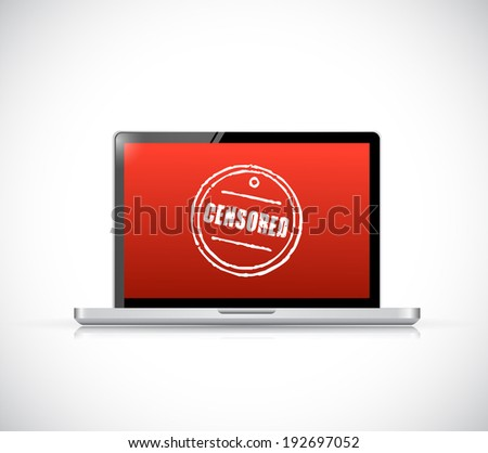 censored concept on a computer. illustration design over a white background - stock photo