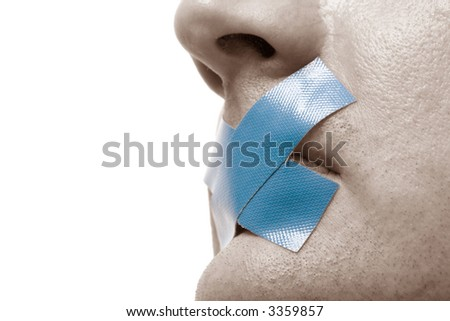 Censored Man with blue tape on his mouth. Toned Image. Isolated on white. - stock photo