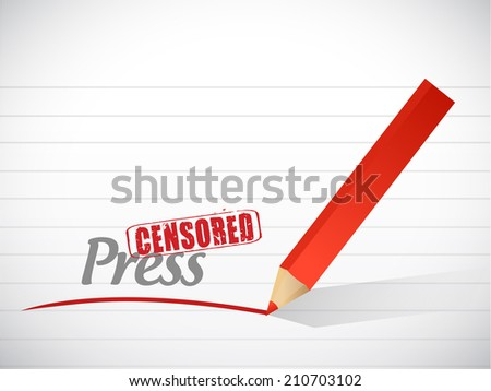 censored press message illustration design over a white background
