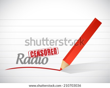 censored radio message illustration design over a white background