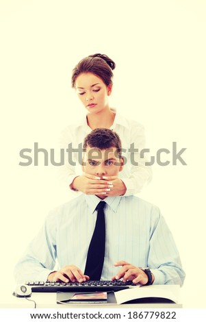 Censorship concept. Two business people isolated on white background - stock photo