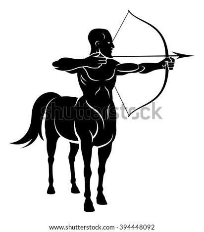 Centaur concept of mythical centaur archer half horse half man character holding a bow and arrows - stock photo