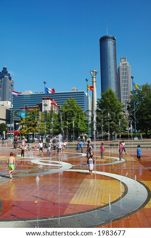 centennial park, atlanta, ga - stock photo